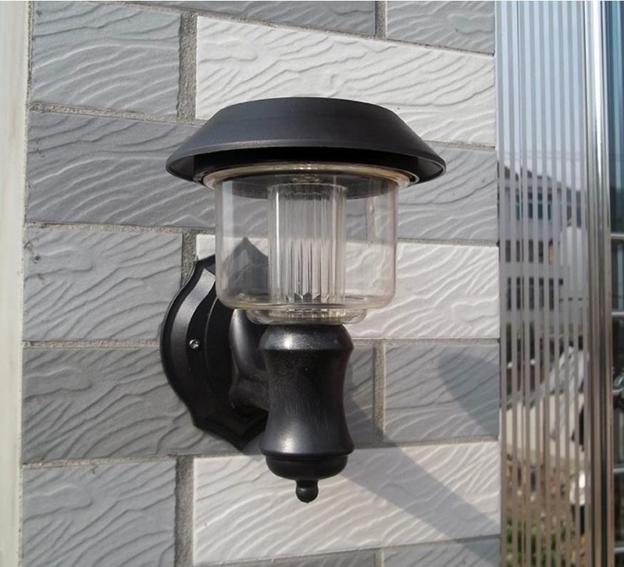 2015 Nuevo, Oudoor 4 LED lámpara de pared luz Solar 100% energía solar luz solar del jardín