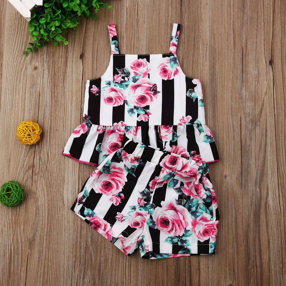 Pudcoco Newest Fashion Toddler Baby Girl Clothes Striped Flower Print Strap Crop Tops Short Pants 2PCS Outfits Summer Clothes