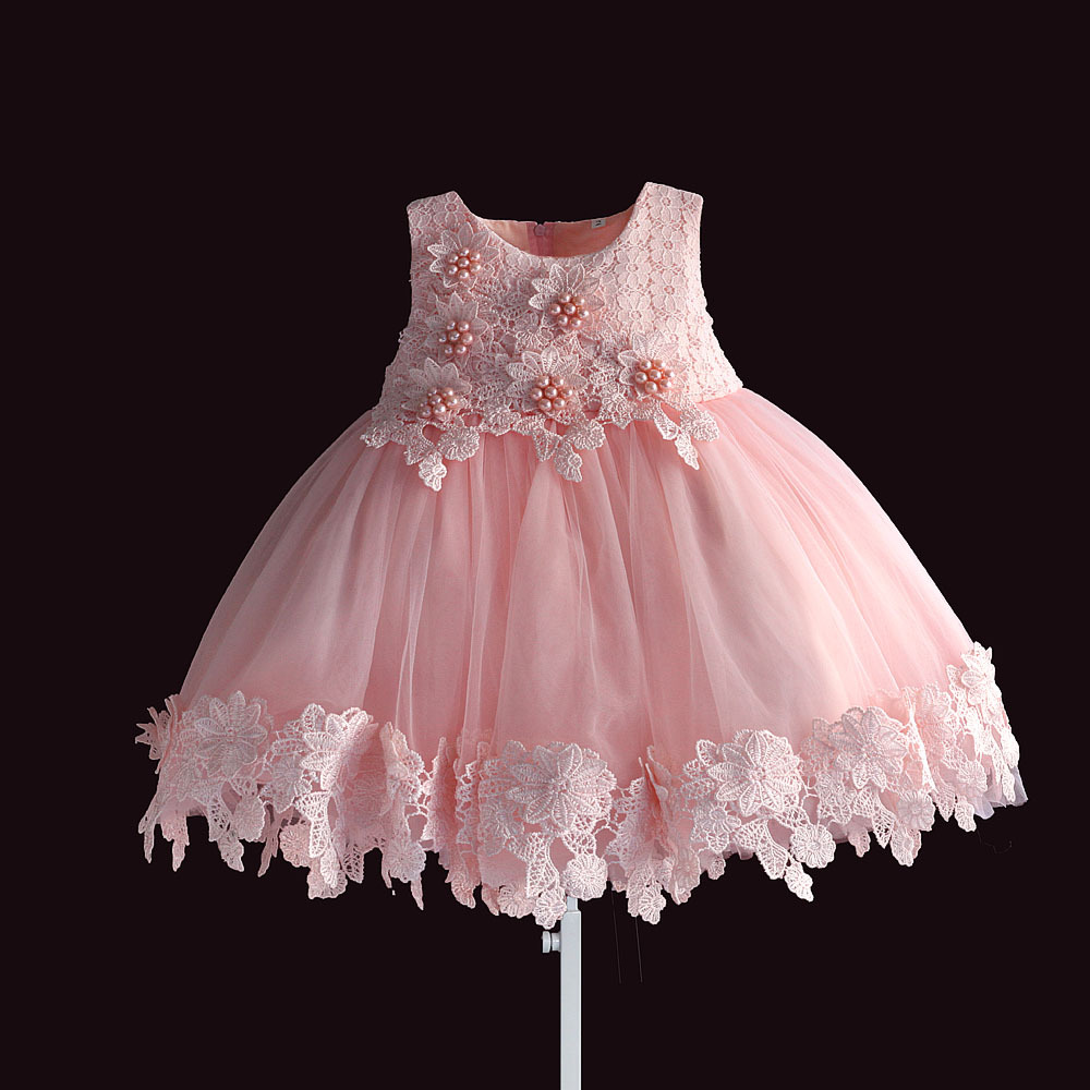 new born baby girl dress pink lace baby wedding party ball gown pearl sleeveless girls christmas clothes vestido infantil 6M-4Y
