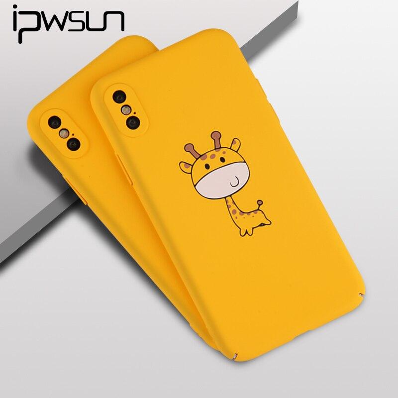 iPWSOO Cute Phone Case For iPhone 6 6S 7 8 Plus X Case Cartoon Giraffe Pineapple Pattern Hard PC Phone For iPhone 7 Phone Capa