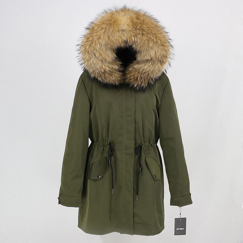 2019 Real Fur Coat Winter Jacket Women Long Parka Waterproof Big Natural Raccoon Fur Collar Hood Thick Warm Real Fox Fur Liner 29