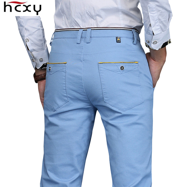 HCXY 2019 Men Pants hombres pantalones Full Cotton Slim Straight Trousers Fashion Men s Commercial Casual