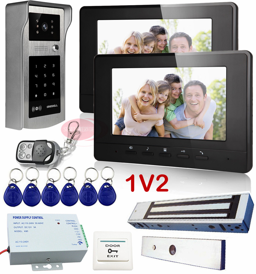 1v2 Intercoms For Homes Rfid Inductive Card/Code Unlock Video Door Phone With Electric Magnetic Lock Video Intercom 2 Monitors