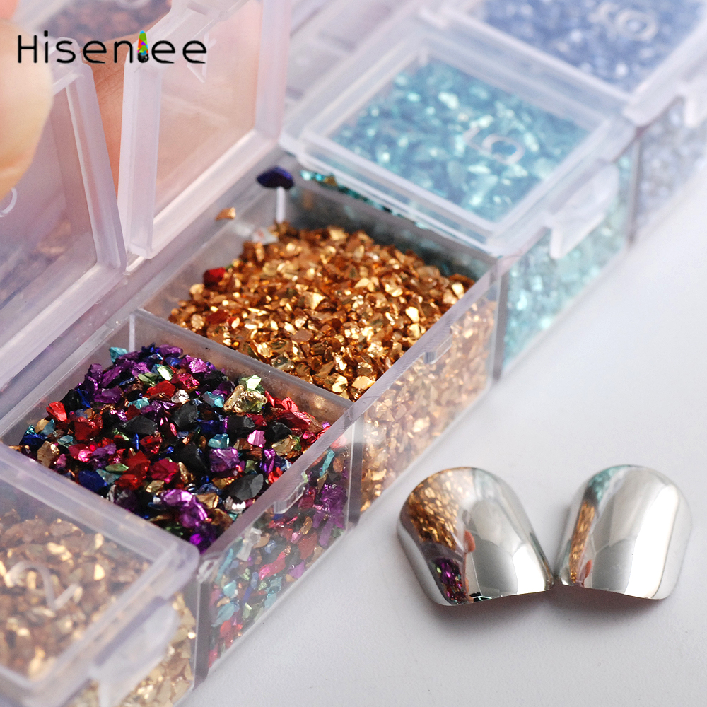 Hisenlee 12Colors 3D Nail Art Crushed Glass Powder Broken Nail Glitter Powder Decoration Rhinestones For Tips Nail Art Set 1Box 4 6 waterdrop shape 3d nail art sharp bottom glass rhinestone nail tip decoration phone decor accessories 10pc