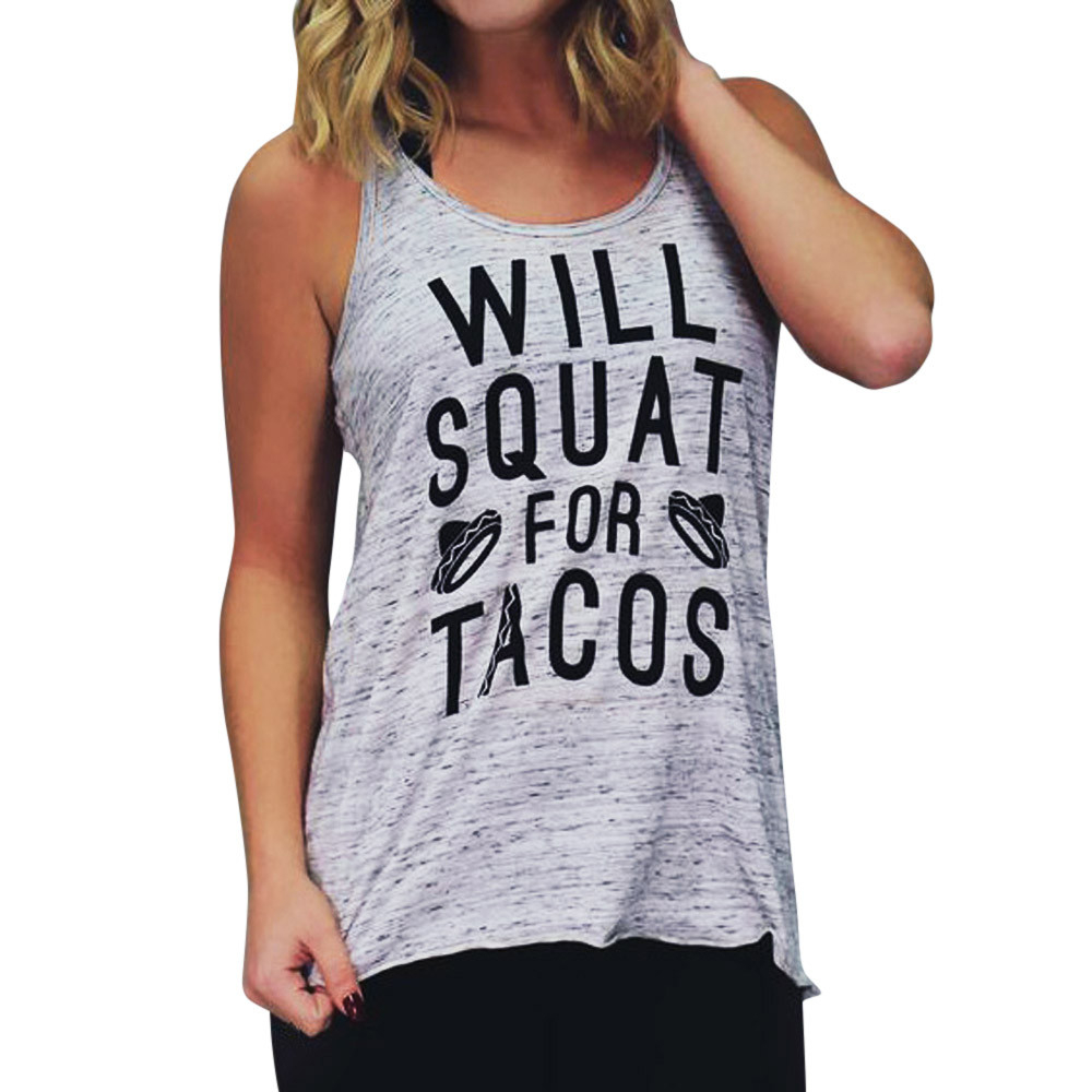 Newly Design WILL WILL SQUAT FOR TACOS Women Gray Workout Tank Top J15T Drop Shipping