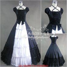 Nueva negro y blanco medieval victoriana cosplay gothic lolita de long dress del vestido de bola de halloween dress costume para la mujer