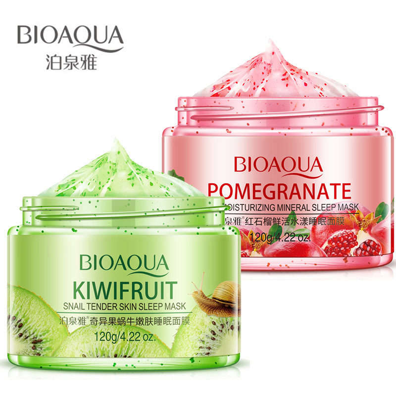 2 piezas BIOAQUA cristalina del caracol Kiwi/rojo Pomegranat esencia Dormir máscara cara Hydratant Blanchissant La Peau Anti-Vieillissement Facial conjunto