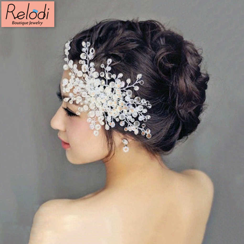women wedding hair accessories bridal pearl crystal tiara wedding decoration hair comb jewelry fashion hairpins sp0103