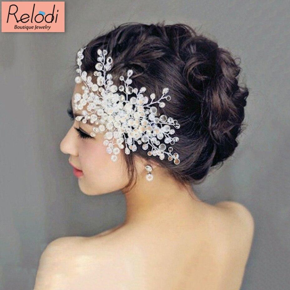 Women Wedding Hair Accessories Bridal Pearl Crystal Tiara