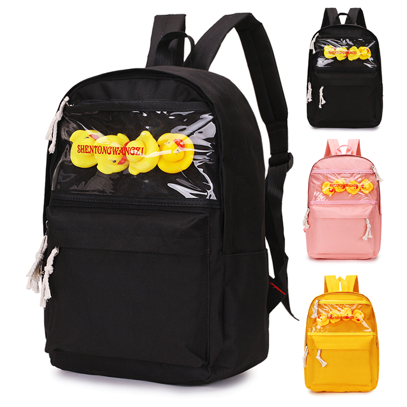Fashion Canvas Cute Duck Women Backpack Teenager Girl Shoulder Bag Casual Backpack Female Mochila Bagpack 2019 School Bag