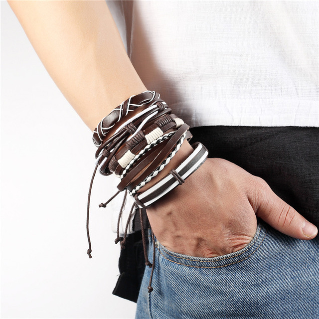 Купить мужской кожаный браслет коричневый в стиле панк повседневная