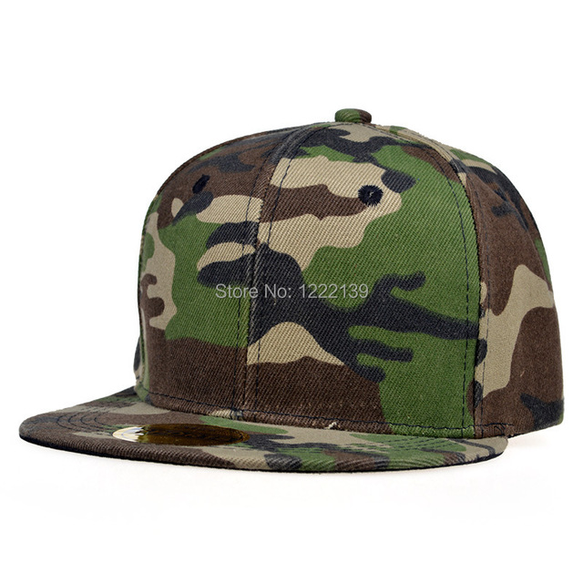 b9935a6bbba Classic Plain Men Women Camo Flat Bill Baseball Hats Mens Camouflage  Snapback Hat Womens Flat Brim SnapBacks Cap