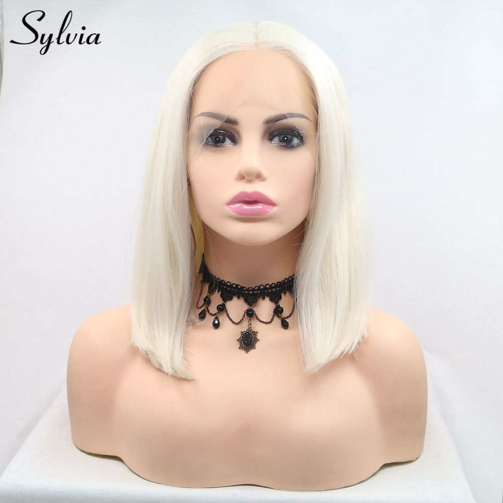 Sylvia Platinum Blonde Bob Hairstyle Synthetic Lace Front Wigs Middle Parting 60 Short Straight Heat Resistant