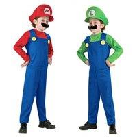 Супер Мэри Марио костюм Костюмы детей и взрослых Косплэй Хэллоуин карнавальные костюмы Fun маскарадный костюм партия поставки