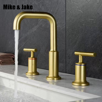 Bathroom Gold brass basin mixer faucet double handle gold brush Basin Mixer Hot And Cold Water Wash basin Faucet MJ0289