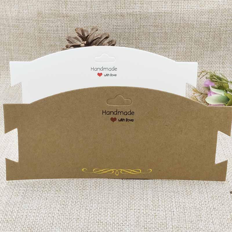 NEW DIY Kraft  Chocker Necklace Card Handmade With Love Card 3.14x7'' Hair Band Clip Card White/Brown 50pcs Golden Foil Design