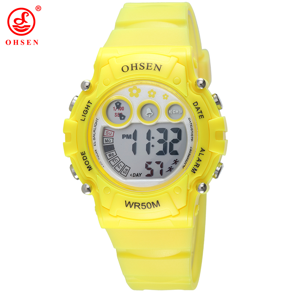Fashion Famous Brand OHSEN Boys Girls Children Kids Waterproof Running Wristwatch Date Day Alarm Digital Watch LED Sports Watch