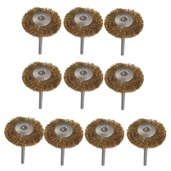 Image 2 - 10 pcs brass wire brush round brush disk brush cup brush 25MM For Dremel-in Abrasive Tools from Tools