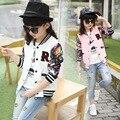 Adolescentes Jaquetas De Beisebol Primavera Outono de 2017 Crianças Novas Meninas Camisola Hoodies Meninas Casaco Sportswear Top Meninas Modelada