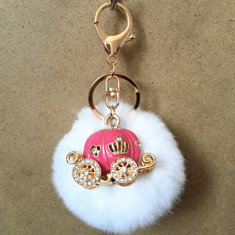 Newest 6PCS/Lot Hot Pink Enamel Princess Carriage Metal Pendant Keychains with 8CM Round White Fur Ball Girls Handbag Key Rings