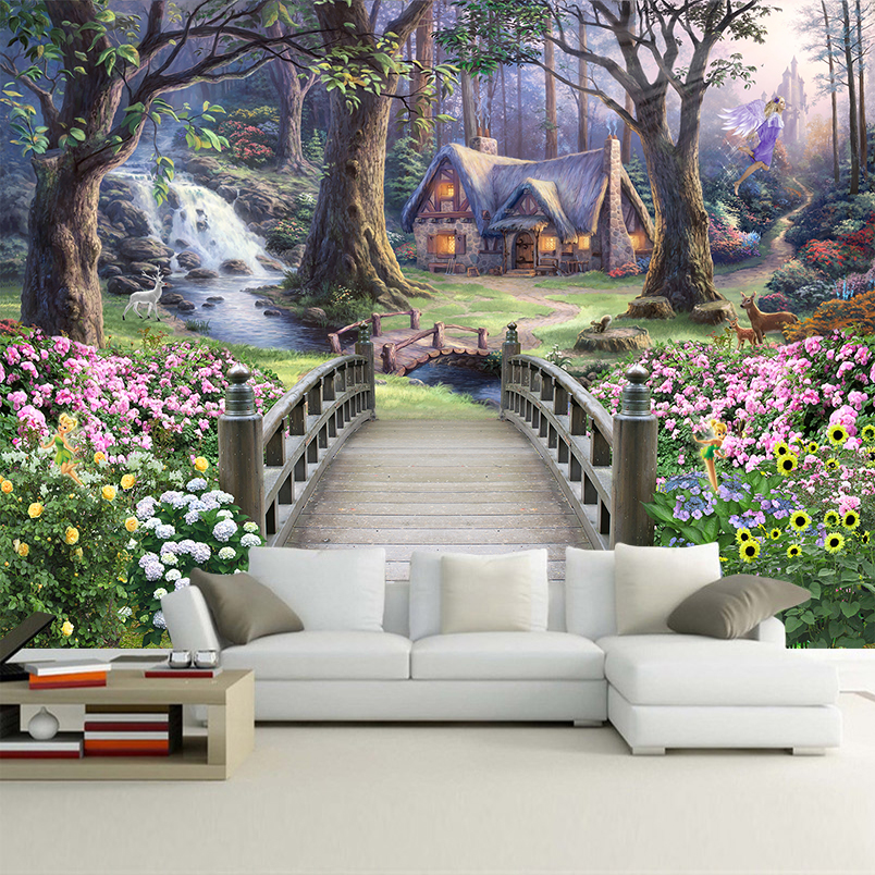 Custom 3D Photo Wallpaper Wall Cloth Nature Landscape Oil Painting Large Murals Bedroom Living Room Backdrop Papel De Parede 3D
