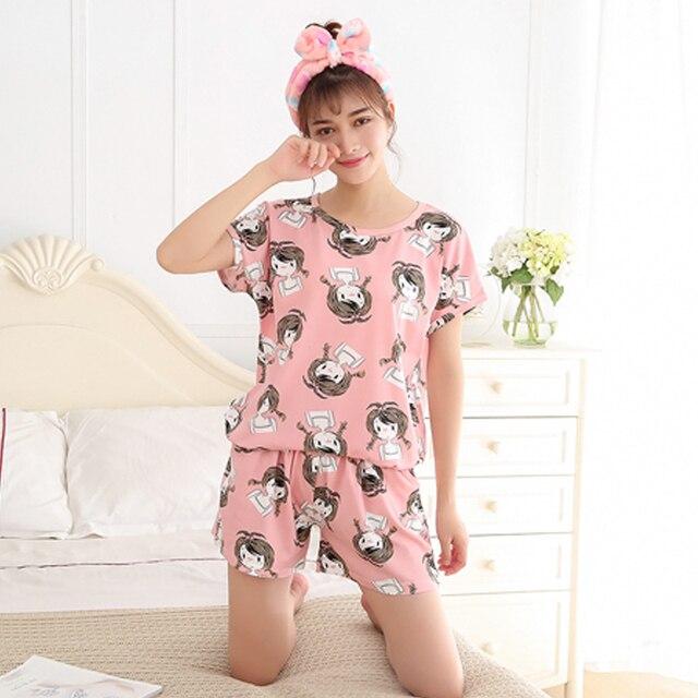 Women Pajamas Sets Summer Short Sleeve Thin Cotton Cartoon Print Cute Loose  Sleepwear Girl pijamas Mujer Nightgown For Women 102107b95