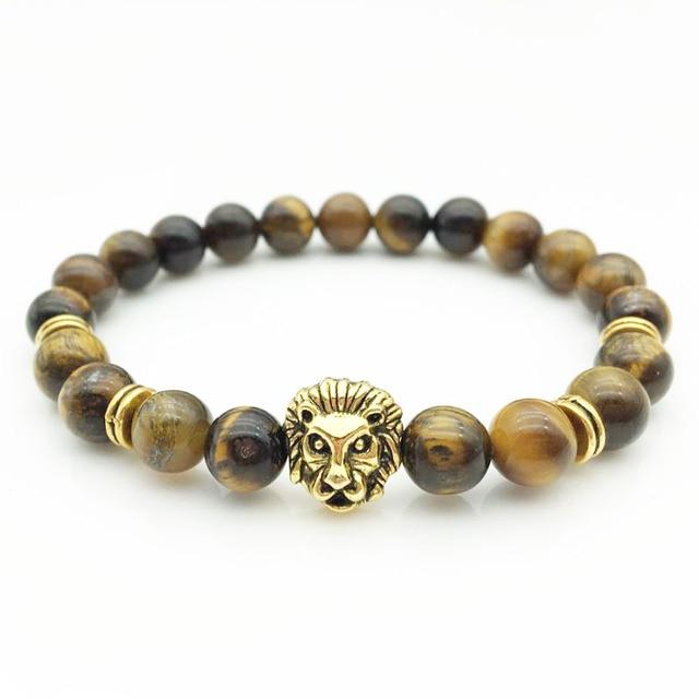 Fashion Jewelry Gold Buddha Leo Lion Rabbit Bracelet Black Lava Stone Beads For Men Women