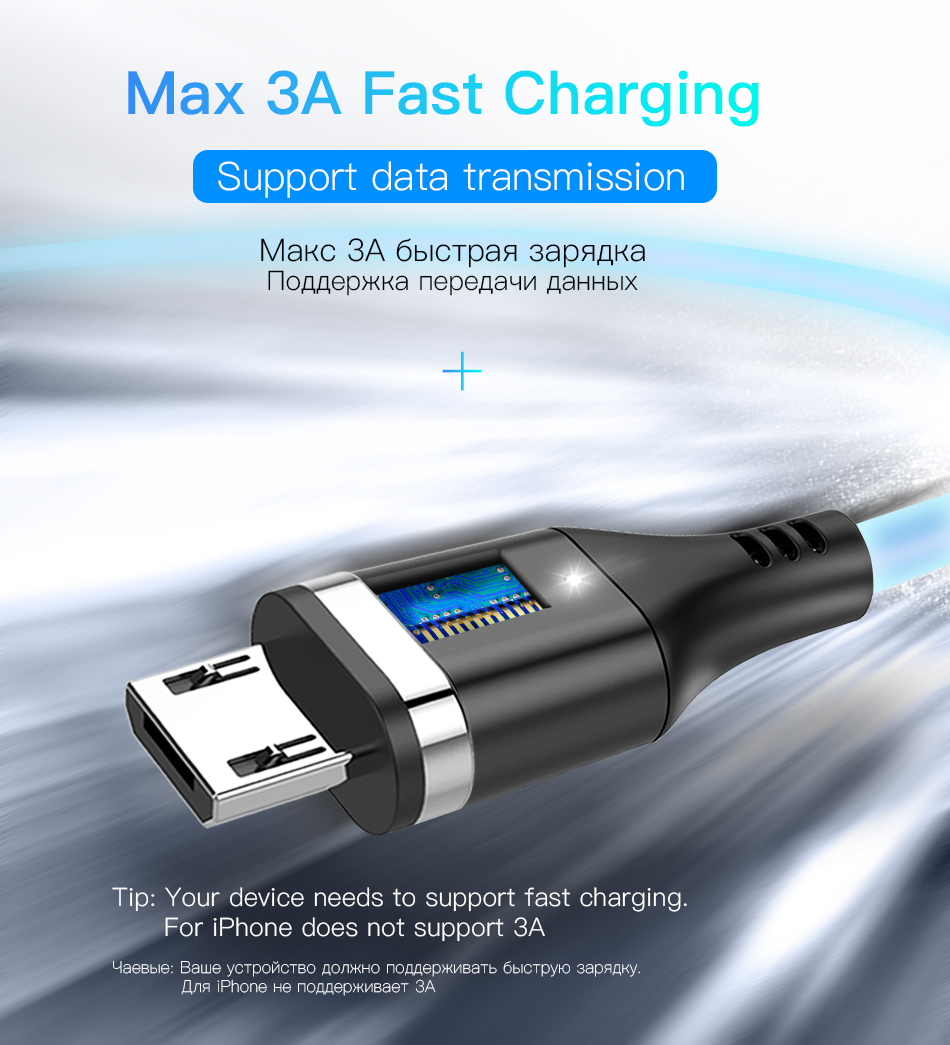 NOHON Magnetic Cable 3A Super Fast Charging For iphone XS MAX XR Micro USB Type C For Samsung Huawei Xiaomi 9 Magnet Data Cables (2)