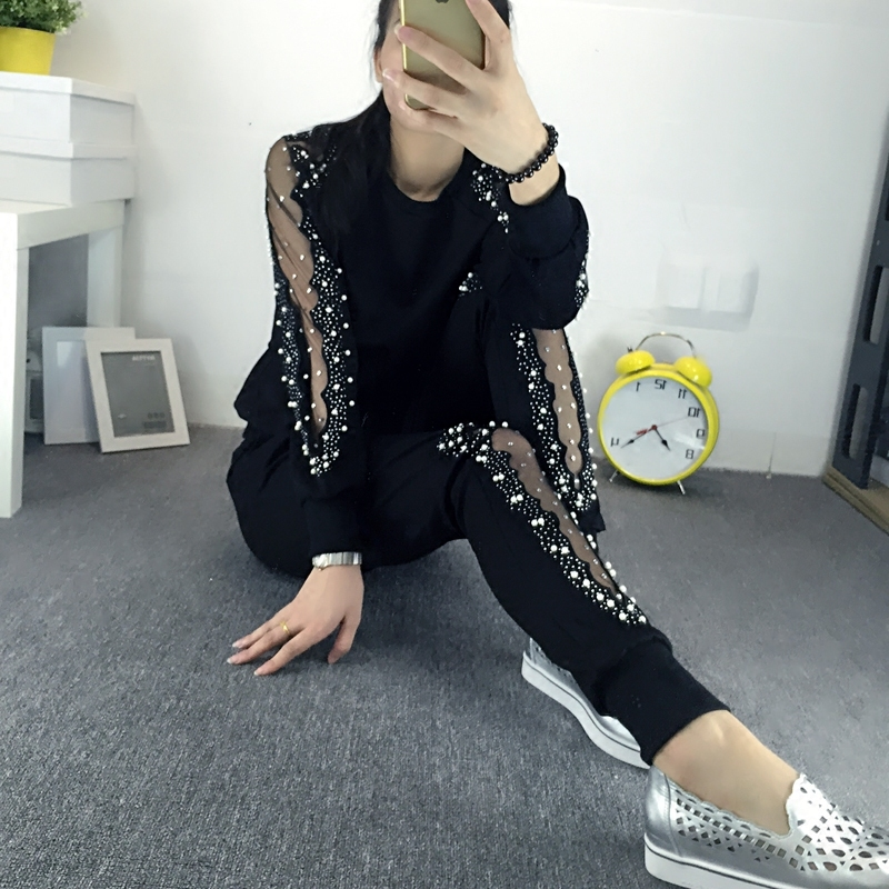 Tracksuits Top Fashion Full Lace Large Size Womens Suit New 2017 Increase The Of Fashionable Hollow Yarn Drilling Two Xxxxl