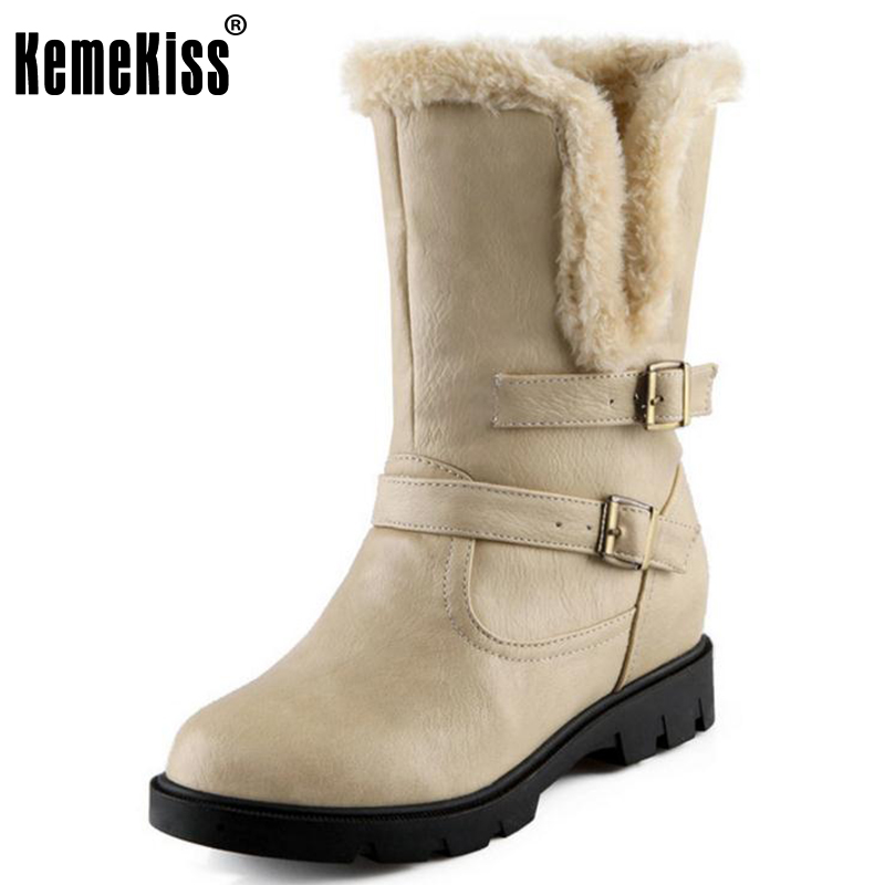KemeKiss Size 34-39 Women High Heel Mid Calf Boots Two Method Winter Warm Snow Botas Half Short Gladiator Boot Footwear Shoes coolcept size 34 43 women half short thick bottom boots cross strap warm shoes cold winter boots mid calf botas women footwear
