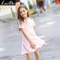 LouisDog девушки розовый flippy платье дети с коротким рукавом хлопка платья подростковые дети милой принцессы платье размер 6-16yrs