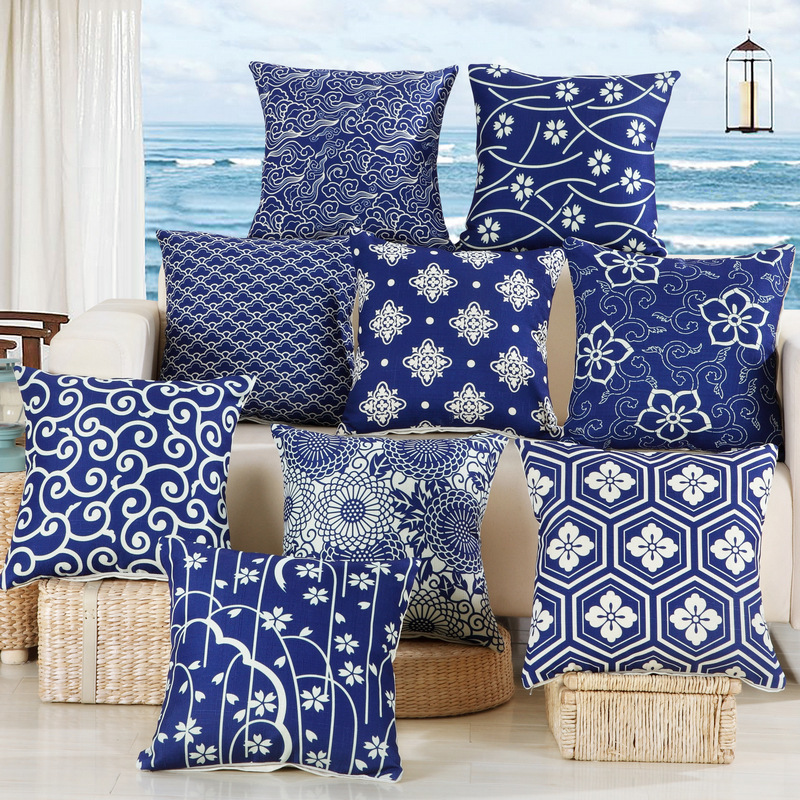 Polyester porcelain Cover Decor Sofa Cushion Blue pattern white Pillow Case and