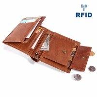JOYIR Vintage 100% Genuine Leather Men Short Wallet RFID Purse Card Holder Coin Pocket Male Wallets For Men Carteiras Masculinas
