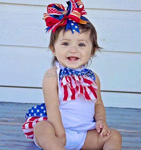 25a542049 4th Of July Romper,Newborn Baby First Patriotic Day Outfit,Infant Girls  Ruffle Romper, Baby Sunsuit,Baby Clothes-in Bodysuits from Mother & Kids on  ...