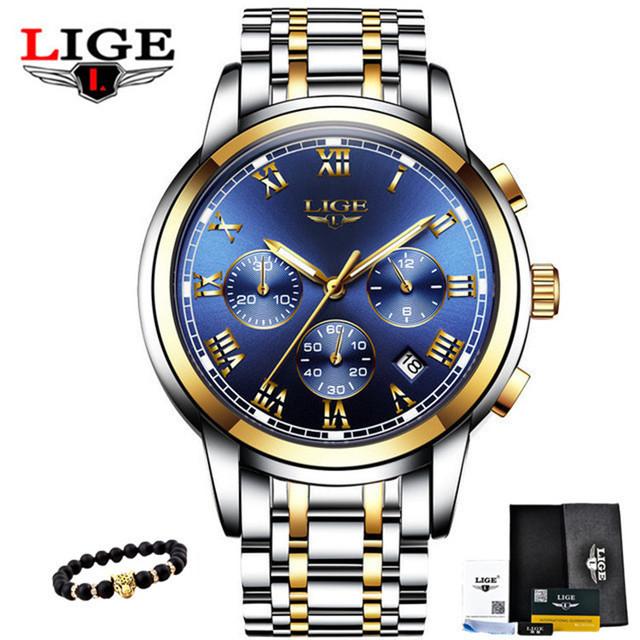LIGE Mens zegarki Military Luxury Marka zegarek mężczyźni kwarcowy stal nierdzewna zegar moda chronograf zegarek człowiek Relogio męski