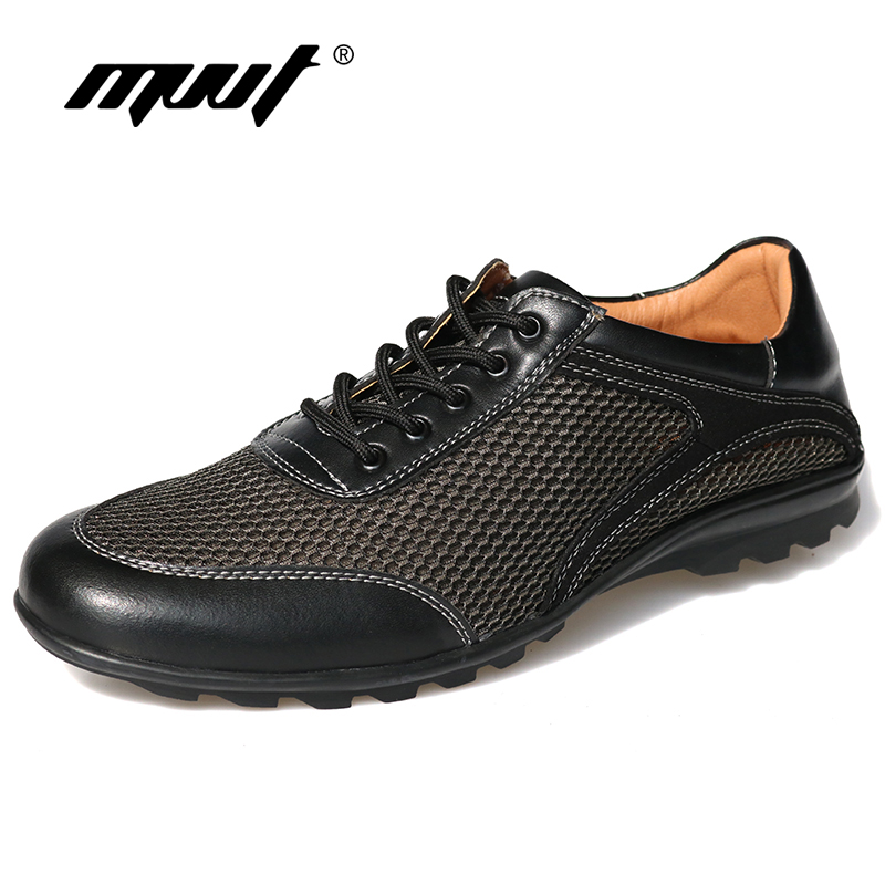 MVVT Summer Men Casual Shoes Breathable Mesh + Leather Men Shoes Lace-up Men Flats Foot Wear For Driving dxkzmcm men casual shoes lace up cow leather men flats shoes breathable dress oxford shoes for men chaussure homme