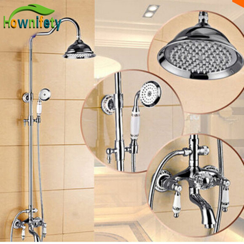 Luxury Chrome Brass Rain Shower Head Tub Spout Mixer Tap W/ Hand Sprayer
