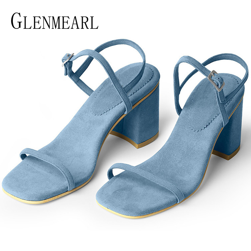 Suede Sandals Heel Party-Shoes Ankle-Strap Female Peep-Toes Woman Brand Thick