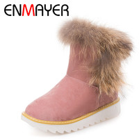 ENMAYER New Warm Snow Boots With Fur Sweet Lady Shoes Woman Flats Ankle Boots Women Winter