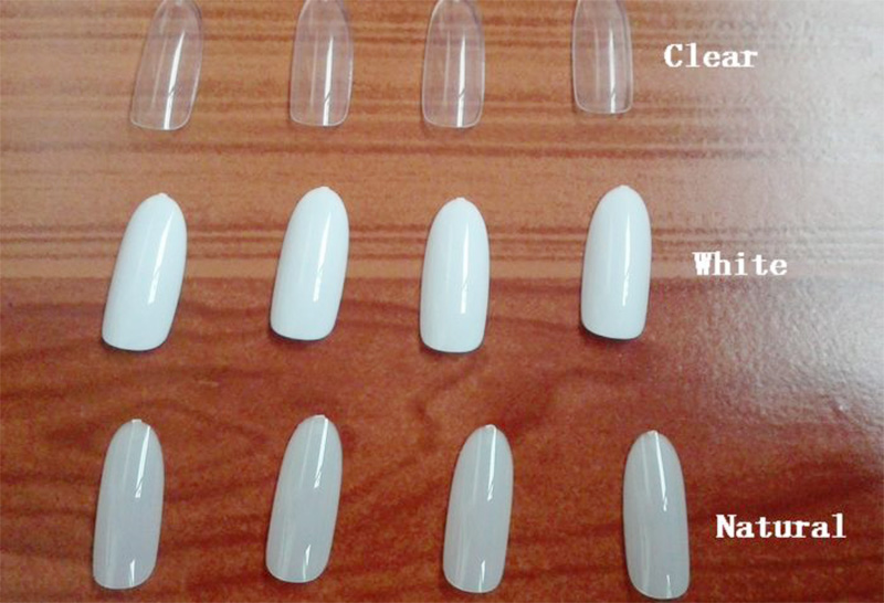 Natural/Clear Round End Long French Manicure Artificial Nails