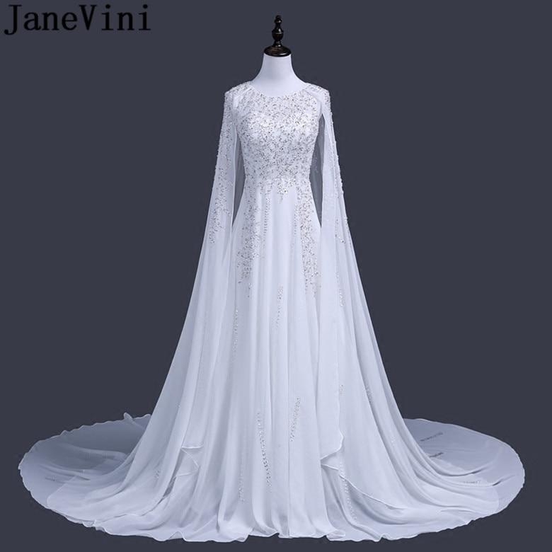 1aa436c0 JaneVini Luxury Arabic Sequin Evening Dresses With Cape Dubai Vestidos  Largos Silver Beaded Long White Party