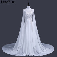 JaneVini Luxury Arabic Sequin Evening Dresses With Cape Dubai Vestidos Largos Silver Beaded Long White Party Formal Gowns Custom