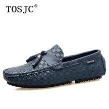 цена TOSJC Men Tassel Loafers Breathable Slip on Boat Shoes Mens Genuine Leather Moccasins Embossed Driving Shoe Gomminos Flats Shoes онлайн в 2017 году