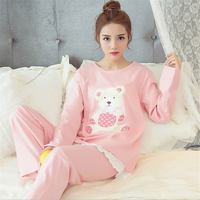 New Autumn/winter flannel Round Neck pajamas sets warm thickening long sleeve sleepwear animal Bear printing Indoor Clothing