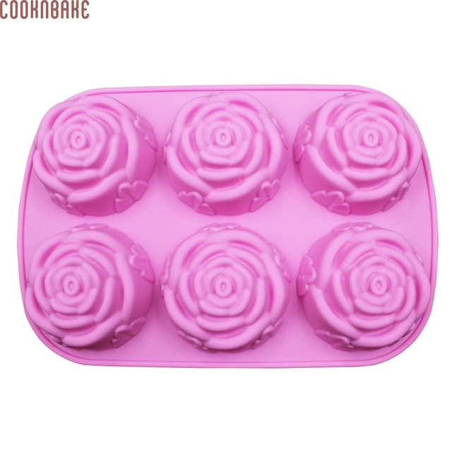 COOKNBAKE DIY  Silicone Mold 6 Lattices Rose Cake Pudding Mold Soap Mold SSCM-001-25
