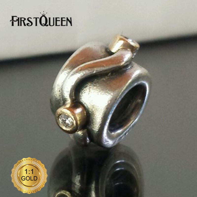 FirstQueen Sterling & 14K LAURAS FAVORITE DIAMOND Charm Fit Original European Bracelet Authentic Fine Jewelry