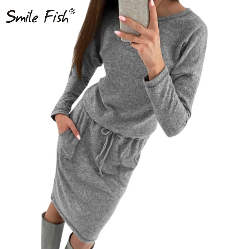 Knitted Dress Vestidos Women Sweaters Dress Knitting Vestido Casual Winter Long Sleeve Pocket Warm Bodycon Dress Plus Size GV006