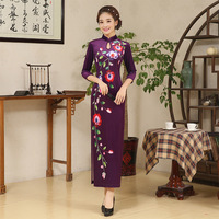 2018 Velvet Cheongsam Long Qipao Purple Traditional Chinese Dress Robe Orientale Style Dresses Summer Women Sexy Flowers