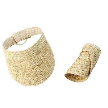 цена на High Quality Solid Color Raffia Straw Visor Cap For Women Summer New Sun Beach Hat Ladies Travel Foldable Sun Visor Hat Fashion