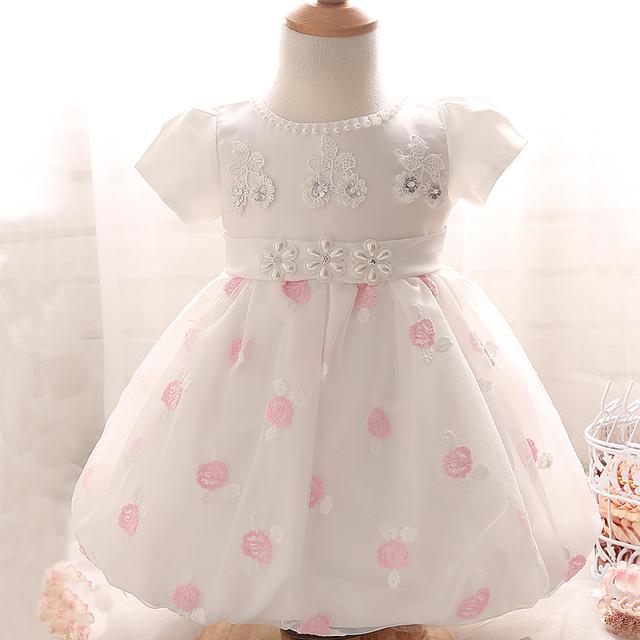 2017 Verão Bordados de Flores Vestidos de Recém-nascidos Roupas Para 1 Anos De Aniversário Do Bebê Vestido de Baptizado Infantil Traje 2 Cor
